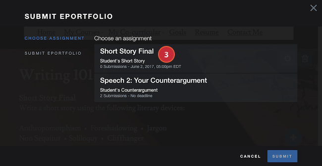 Select Submit Option Screenshot