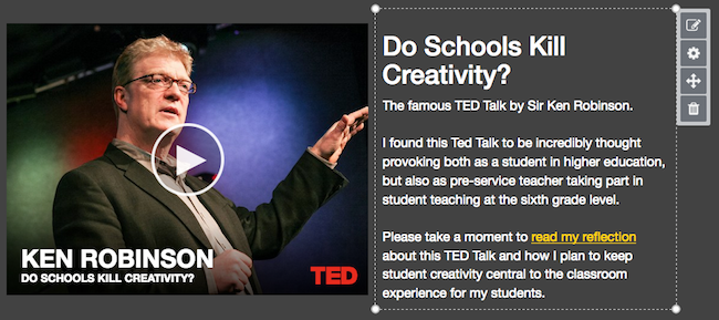 A video of Ken Robinson's Ted Talk 'Do Schools Kill Creativity'  next to a rich text module that has a link to a file.
