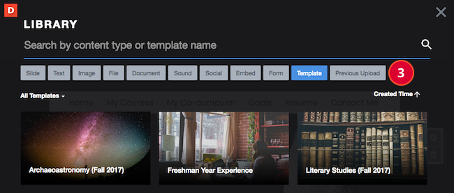 A view of your Library with a prompt for you to select the Previous upload button.